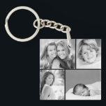 "Family Photo Collage Keychain<br><div class=""desc"">Beautiful personalized keychain with 4 of your custom family photos arranged in a square grid photo collage. Add your favorite family photos and create a beautiful keepsake canvas art print. Click Customize It to move photos around, add text, and customize fonts and colors. Great gift for family, friends, parents and...</div>"