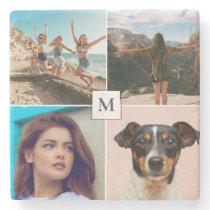 Family Photo Collage Monogram Stone Coaster