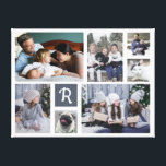 """Family Photo Collage Monogrammed 7 Pictures White Canvas Print<br><div class=""""desc"""">Display your family or wedding memories with this beautiful photo collage canvas in white with a gray-blue square behind your monogram. The design includes room for 7 photographs: 2 large horizontal, 2 medium vertical, and 3 smaller Instagram-style square. Add your monogram letter in cursive. The simple templates make it easy...</div>"""