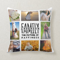 Family Photo Collage Name Template | Add 16 Pics Throw Pillow
