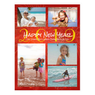Family Photo Collage Red Gold New Years Greeting Postcard