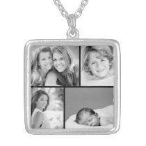 Family Photo Collage Silver Plated Necklace