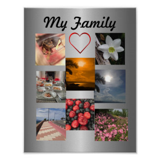 Family Photo Collage Template For 8 Photos Poster
