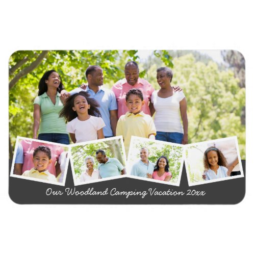 Family Photo Collage w Zigzag Photo Strip Flexible Magnet