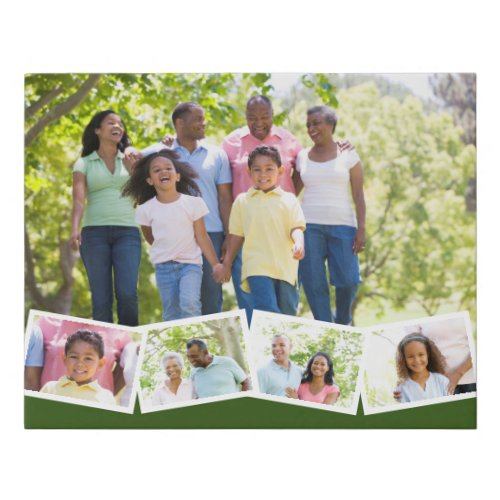 Family Photo Collage w Zigzag Photo Strip _ Green Faux Canvas Print