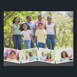 "Family Photo Collage w. Zigzag Photo Strip - Grey Faux Canvas Print<br><div class=""desc"">Personalize this stylish faux canvas with your favorite family photos. The template is set up ready for you to add up to 5 photos. The main photo will be used as the background and the remaining 4 photos will be laid out in a zigzag photo strip along the bottom. This...</div>"