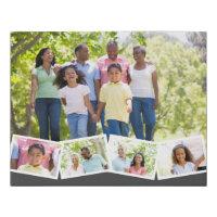 Family Photo Collage w. Zigzag Photo Strip - Grey Faux Canvas Print