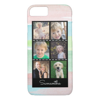 Family Photo Collage Watercolor Stripes iPhone 8/7 Case