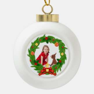 Family Photo Customizable Chistmas Wreath Ceramic Ball Christmas Ornament