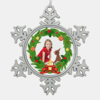 Family Photo Customizable Chistmas Wreath Snowflake Pewter Christmas Ornament