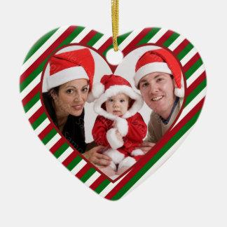 Family Photo Heart Frame Christmas Ornament