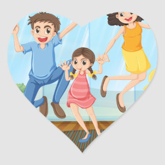 Family photo heart sticker