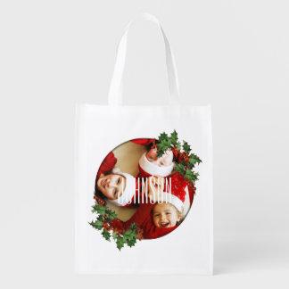 Family Photo Holiday Customizable Grocery Bag Reusable Grocery Bag