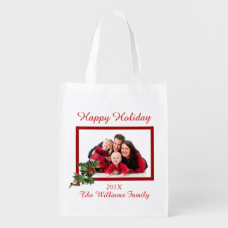 Family Photo Holiday Customizable Grocery Bag Market Totes