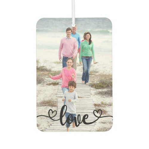 Family Photo Love Overlay and Rustic Wood Air Freshener