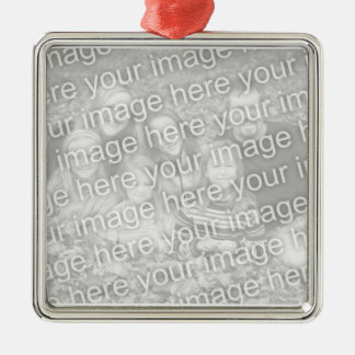 Family Photo Memories Square Metal Christmas Ornament