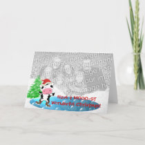 Family Photo Merry Christmas Kawaii Dancing Cow Holiday Card