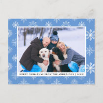 Family Photo Merry Christmas Snowflakes Blue Holiday Postcard