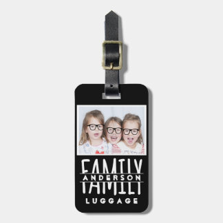 Family Photo | Name Custom Template Modern Black Luggage Tag