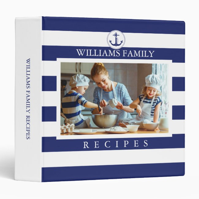 Family Photo Nautical Anchor Blue Stripes Recipe 3 Ring Binder
