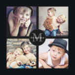 """Family Photo Personalized Collage Canvas Print<br><div class=""""desc"""">Four of your favorite family photos are featured in this fun wrapped canvas photo collage. Personalized with your monogram and family name in the center medallion as well.</div>"""