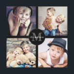 "Family Photo Personalized Collage Canvas Print<br><div class=""desc"">Four of your favorite family photos are featured in this fun wrapped canvas photo collage. Personalized with your monogram and family name in the center medallion as well.</div>"