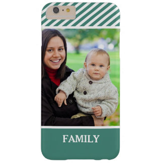Family Photo Personalized - Stylish Green Stripes Barely There iPhone 6 Plus Case