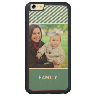 Family Photo Personalized - Stylish Green Stripes Carved® Maple iPhone 6 Plus Bumper