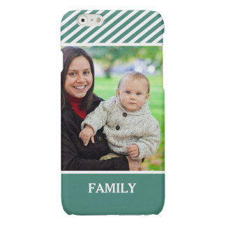 Family Photo Personalized - Stylish Green Stripes Glossy iPhone 6 Case