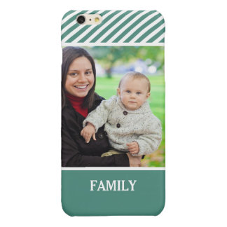 Family Photo Personalized - Stylish Green Stripes Glossy iPhone 6 Plus Case