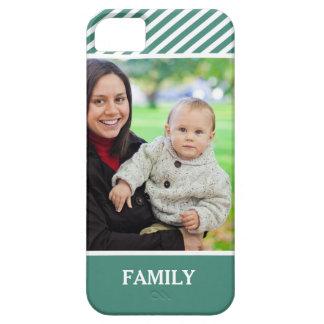 Family Photo Personalized - Stylish Green Stripes iPhone 5 Case