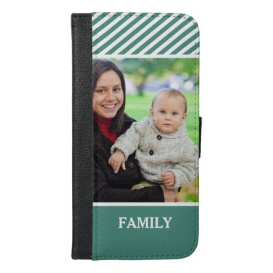 Family Photo Personalized - Stylish Green Stripes iPhone 6/6S Plus Wallet Case