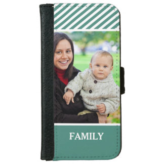 Family Photo Personalized - Stylish Green Stripes iPhone 6 Wallet Case