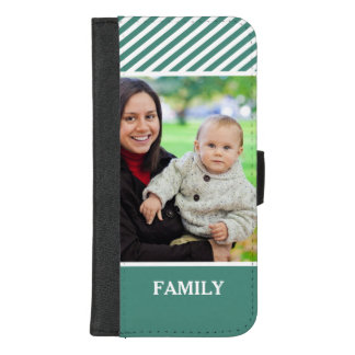 Family Photo Personalized - Stylish Green Stripes iPhone 8/7 Plus Wallet Case