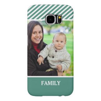 Family Photo Personalized - Stylish Green Stripes Samsung Galaxy S6 Case