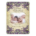 "Family Photo Purple & Green Peacock Christmas Card 5"" X 7"" Invitation Card"
