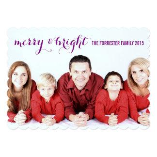 Family Photo Purple Plaid Pattern Merry & Bright Card