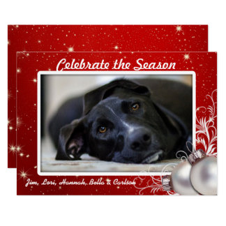 Family Photo Red Flat Christmas Cards