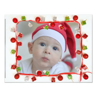 Family Photo Red & Green Border Christmas Card