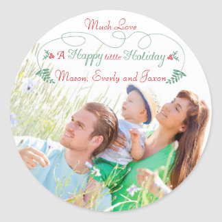 Family Photo Red Green Holly Happy little Holiday Classic Round Sticker