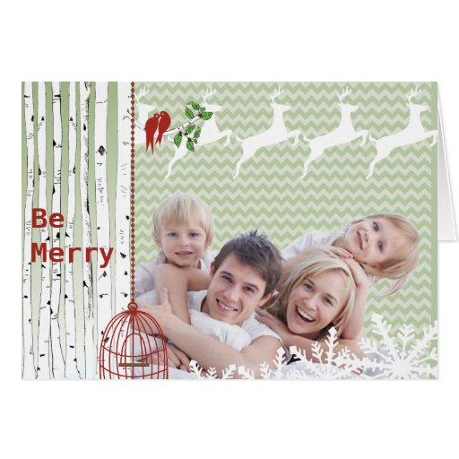 Family Photo Red Love Birds Bird Cage Christmas Card