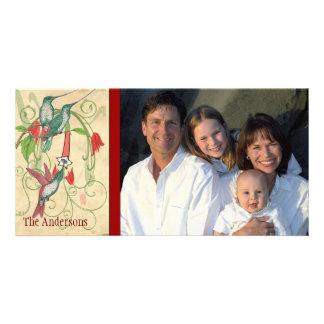Family Photo Vintage Hummingbird Happy Holiday Card