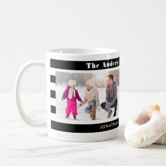 Family Photos Personalized I Trendy Black Stripes Coffee Mug