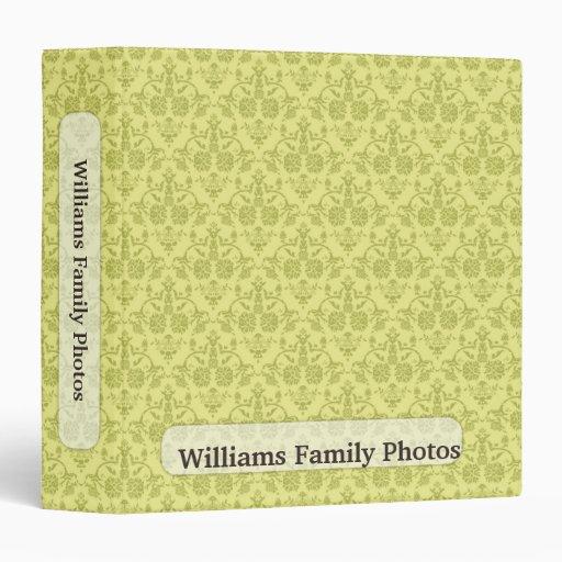Family Photos Vintage Green Pattern 3 Ring Binder