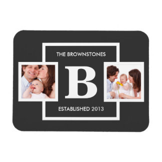 Family Photos with Personalized Monogram Magnet
