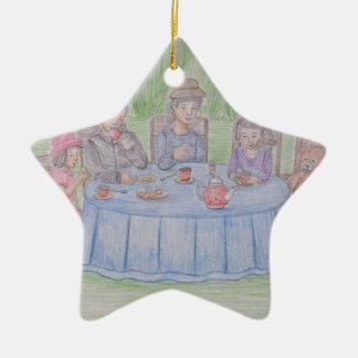 Family Picnic Ceramic Ornament