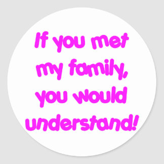 family_pink classic round sticker