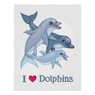 Family Pod of Dolphins Swimming Poster