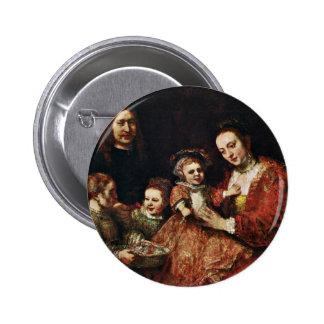 Family Portrait By Rembrandt Harmenszoon Van Pinback Button