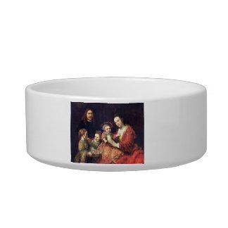 Family Portrait by Rembrandt Harmenszoon van Rijn Cat Bowls